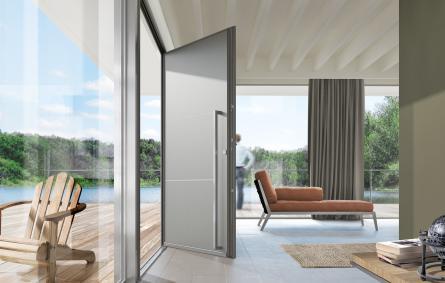 Pose et installation de portes d 39 entr e en aluminium tfs for Fenetre grise